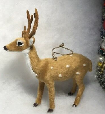 Large Deer / Buck w Antlers Standing Woodland Christmas Tree Ornament Faux Fur