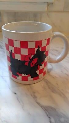 SCOTTIE Dog Coffee Mug Scottish Terrier White & Red Check pattern Made in Japan