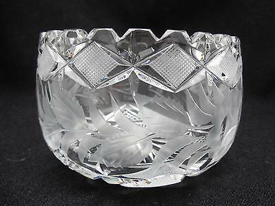 """Vintage Cut and Pressed Glass Bowl Complex Pattern w Band of Flowers 4.5"""" x 3"""""""