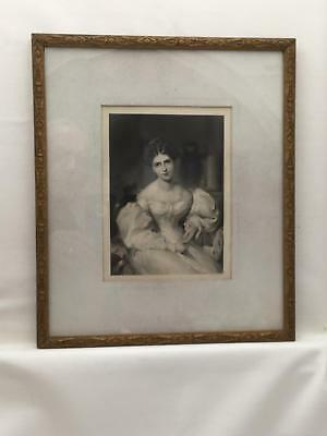 """Thin, Ornate Gold Antique 10.75"""" x 12.9"""" Frame w Steel Engraving Beautiful Lady"""