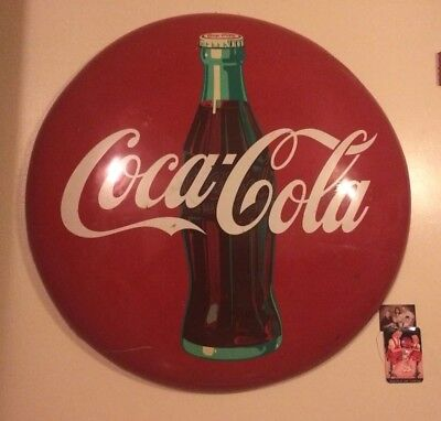 36 Inch CocaCola Non Porcelain Button Sign
