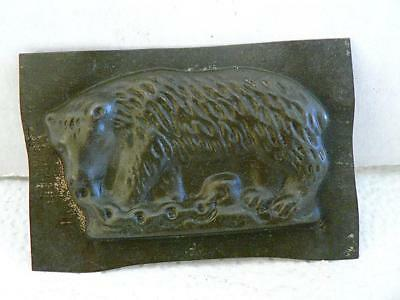 Vintage Bear With Chain Flat  Chocolate Mold