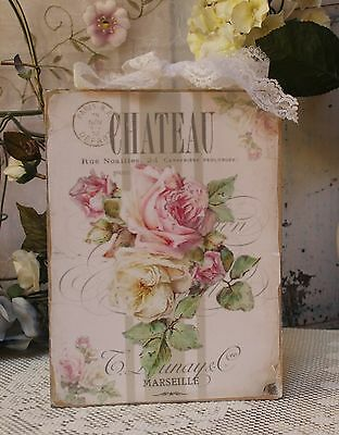"""Chateau Marseille"" Shabby Chic French Country Cottage style Wall Decor Sign"