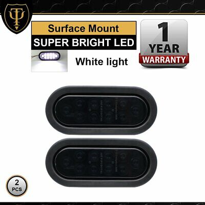 "2X White 10 LED 6"" Oval Sealed Reverse Tail Light Trailer Truck 12V Smoked Lens"