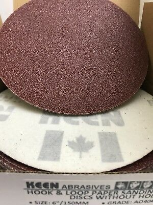 "25- 40 Grit 6"" Dia Hook & Loop Sandpaper KEEN Abrasives 33061"