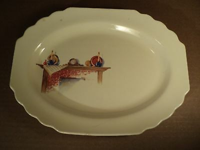 W S George Lido FIREPLACE Mantle Serving Dish Plate Platter Canarytone USA