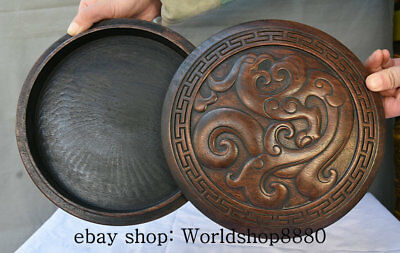 """9"""" Rare Old Chinese Dynasty Palace Wood Hand-Carved Beast Pattern Round Box"""