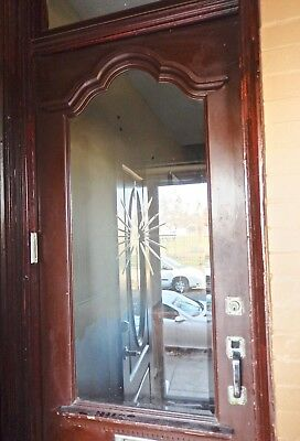 Antique, Exterior Door with Starburst Beveled Glass & Original Hardware
