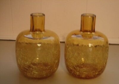 2 Mid-Modern BLENKO Handcrafted Honey Amber Blown Crackle Art Glass Bottle Vase