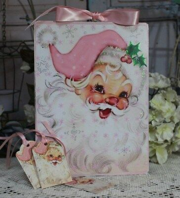 """Pink Santa"" ~ Shabby Chic ~ Vintage ~ Country Cottage ~ style Wall Decor Sign"