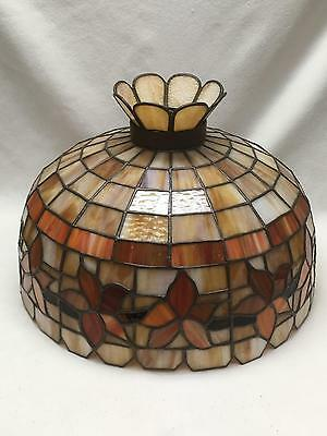 Vintage Large Stained Glass Type Shade Caramel, Amber Slag Ceiling Hanging Light