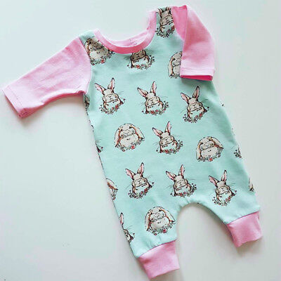 Easter Bunny Newborn Baby Girls Romper Bodysuit Sunsuit Cotton Outfits Clothes