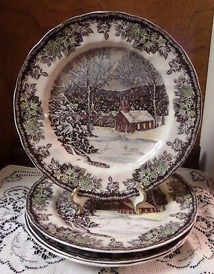 Johnson Brothers THE FRIENDLY VILLAGE School House Dinner Plate Set of 4 EUC