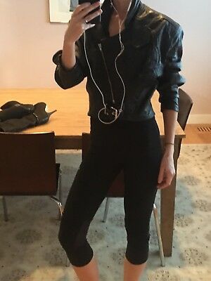 Vintage TRAMWAY Black Leather Zip Crop Belted Jacket 80's Biker X-Small -Small