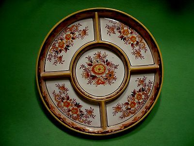 Antique MORIYAMA MORI-MACHI hand painted 5 section divided dish. Vibrant flowers
