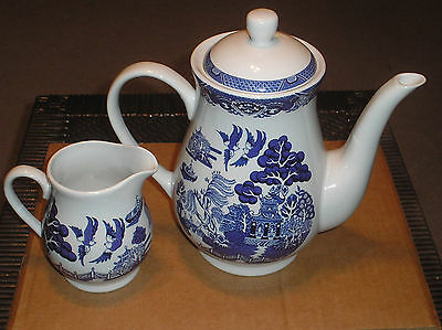 Blue Willow Royal Cuthbertson Coffee Pot with Lid & Creamer