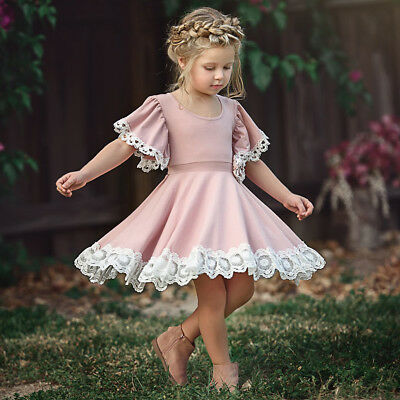 US Easter Kids Baby Girls Dress Lace Floral Party Dress Short Sleeve Solid Dress