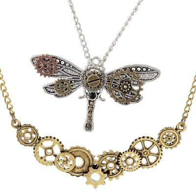2Pc Steampunk Dragonfly Gear Pendant Biker Gothic Necklace Mechanical Chain