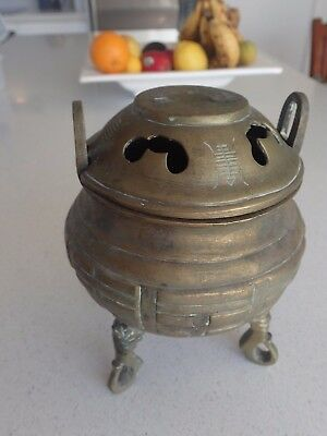 Old Chinese Brass Handwork Carved Hollow  Incense Burner