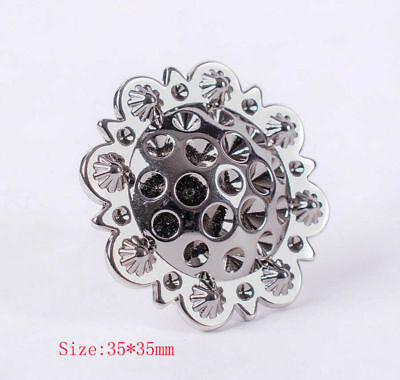 """Set of 5 WESTERN HORSE SADDLE TACK 1-3/8"""" Bright Silver BERRY CONCHOS Screwback"""