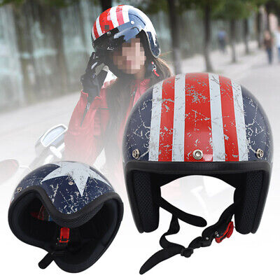 3/4 Open Face Motorcycle Comfortable Safety Helmet Scooter ATV Off Road Size L