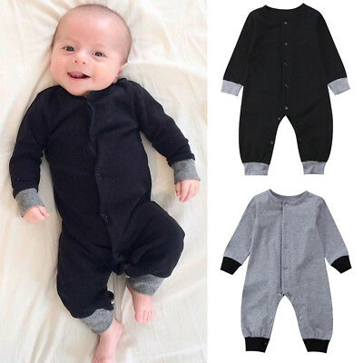 Newborn Baby Boy Girl Plain Romper Long Sleeve Jumpsuit Playsuit One Pieces 0-24
