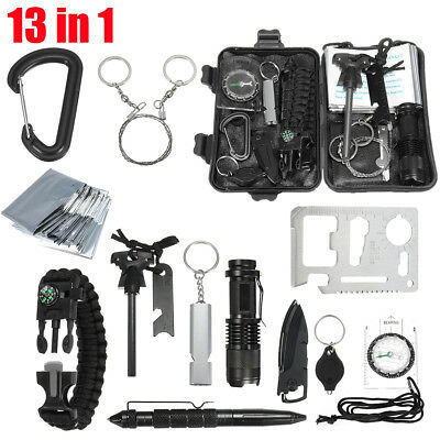 13in1 SOS Emergency Survival Equipment Kit Tactical Outdoor Hiking Camping Tool