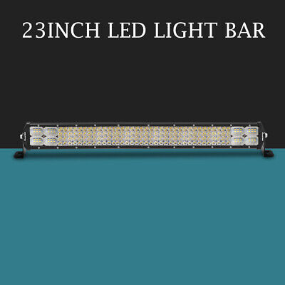 "9D 23inch 1404W TRI Row LED Light Bar Dual Colors Flood Spot Driving TRUCK 22""24"