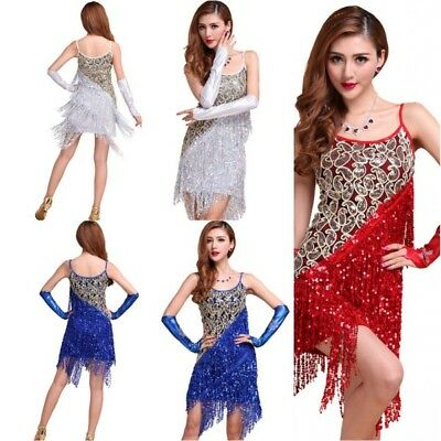 Sexy Women Latin Salsa Tango Ballroom Dance Dress Samba Sequined Tassels Skirts