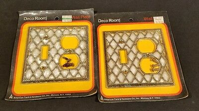 Vintage American Tack Hardware Co Deco light Wall Plate Diamond Pearl NOS Lot 2