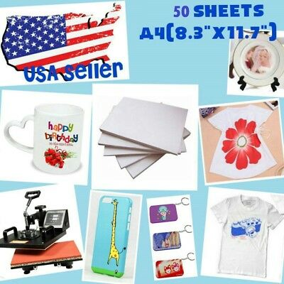 50 Sheets  A4 Dye Sublimation Heat Transfer Paper for Polyester Cotton T- Shirt