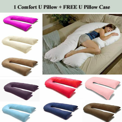 Total Body Support Pregnancy Maternity U Pillow With Free Pillow Case - 2 Sizes