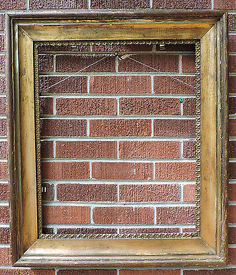 Antique VICTORIAN Super SHABBY GOLD Heavy WOOD Picture Frame 19 3/4 x 24 c1860s