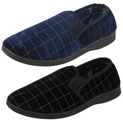 Mens Spot On Check Slippers