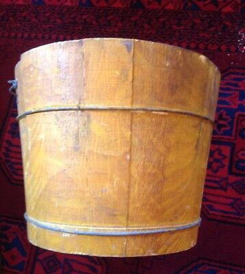 Rare Antique New England Wooden Yellow Grain Painted Farm Bucket Firkin Pail