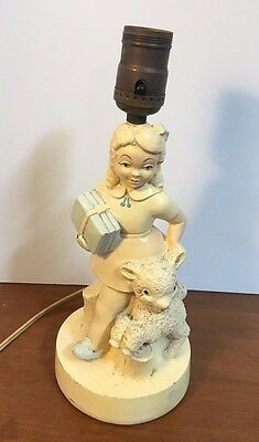 "Vintage lamp 1950s chalkware girl with lamb 12"" tall mid-century collectible"