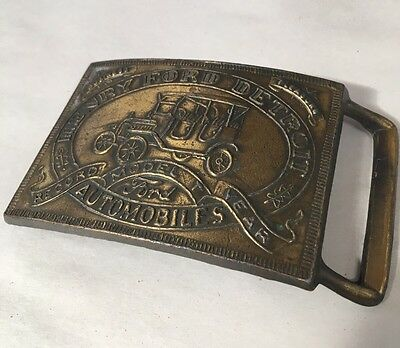 Vintage Brass Belt Buckle Henry Ford Detroit Automobiles Model T Record Year