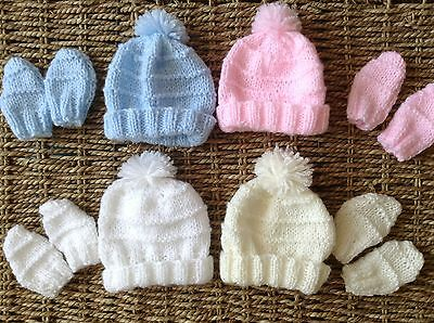 Brand New Hand Knit Tiny Baby Hat And Mitts 3/5 Lbs Fits Annabelle Doll 1