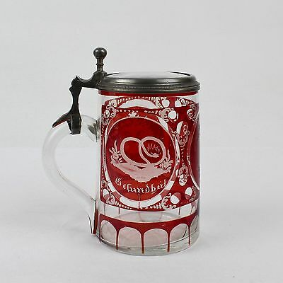 Antique Bohemian Etched Red Flash Glass Beer Stein - German Ruby Krug - GL