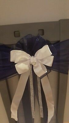 Navy Blue White Silver Bows Wedding Pew  Church Venue Chairback Marquee Decor