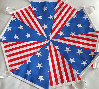 STARS AND STRIPES Fabric Bunting 30ft Bundles USA July 4th independence day 2018
