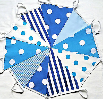 BLUE HUES MIX fabric Bunting 30ft Bundles Polka Dot Stripe Gingham 60FT 120FT