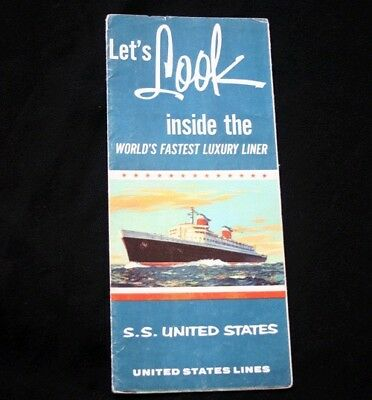 UNITED STATES LINES SS UNITED STATES Cut Away Deck Plan 65