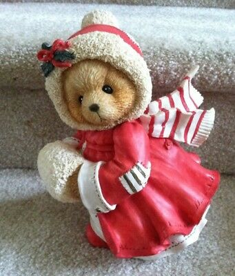 """Cherished Teddies LARGE Sits 9""""Tall """"Cozy Winter Wishes Coming Your Way"""" Alice"""