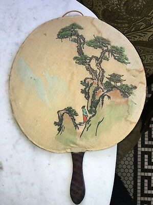 Stunning Vtg HandPaint Chinese Silk Fan Asian Antique Bonsai Tree Rare Lucky