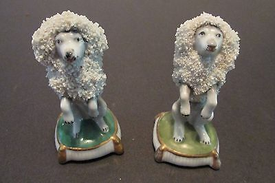2 Antique Chelsea POODLES English Figurines Sitting Up Tassel Pillow Gold Anchor