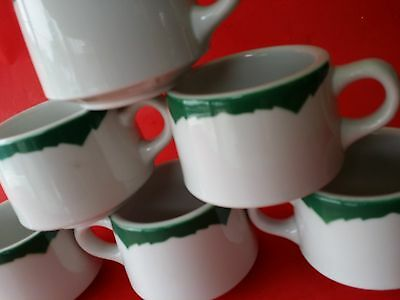 6 Vintage Mid Century SHENANGO CHINA GREEN COFFEE CUPS RIMROL WELROC  FLAME TIP