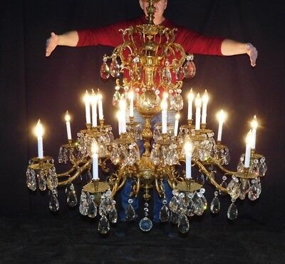 """Palatial Antique 20 Light 55"""" Wide by 58"""" Tall Brass Cut Lead Crystal Chandelier"""