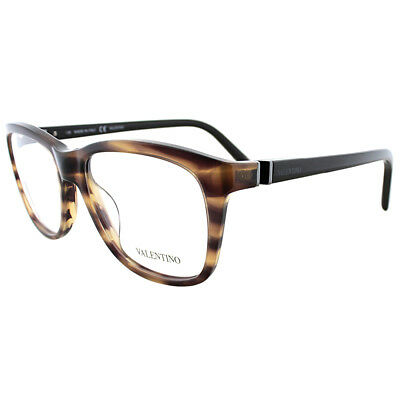 Valentino V2632 236 Striped Brown Plastic Rectangle Eyeglasses 52mm