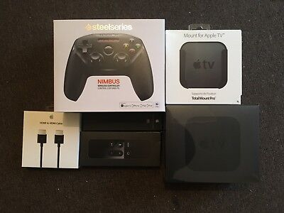 Apple Tv 4Th 64Gb Bundle - Siri Remote, Mounting System, Hdmi, Gaming Controller